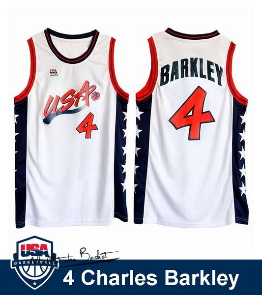 Maillot NBA 1996 USA Charles Barkley NO.4 Blanc
