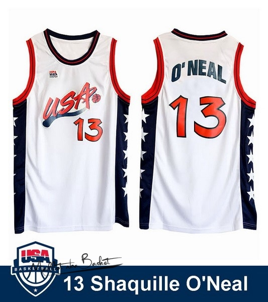 Maillot NBA 1996 USA Shaquille O'neal NO.13 Blanc