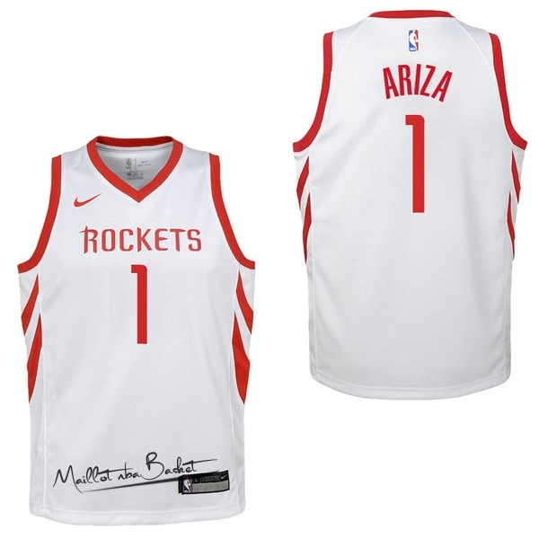 Maillot NBA Enfant Houston Rockets NO.1 Trevor Ariza Blanc Association