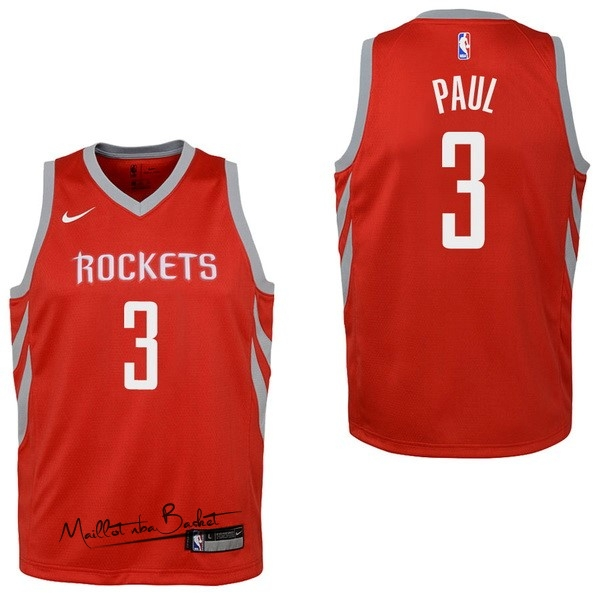 Maillot NBA Enfant Houston Rockets NO.3 Chris Paul Rouge Icon