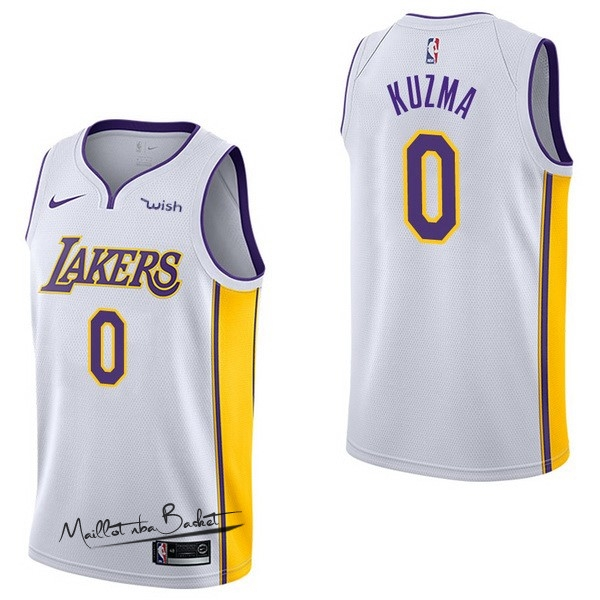 Maillot NBA Enfant Los Angeles Lakers NO.0 Kyle Kuzma Blanc
