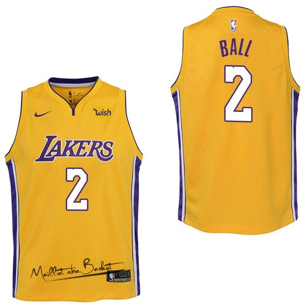 Maillot NBA Enfant Los Angeles Lakers NO.2 Lonzo Ball Jaune