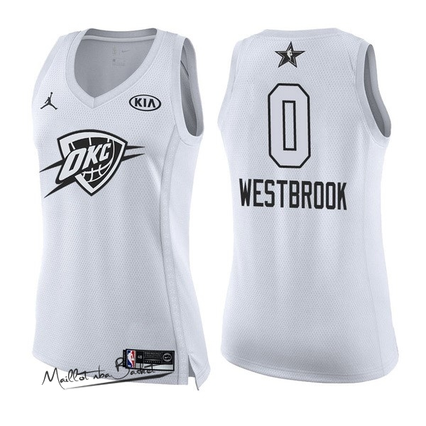 Maillot NBA Femme 2018 All Star NO.0 Russell Westbrook Blanc
