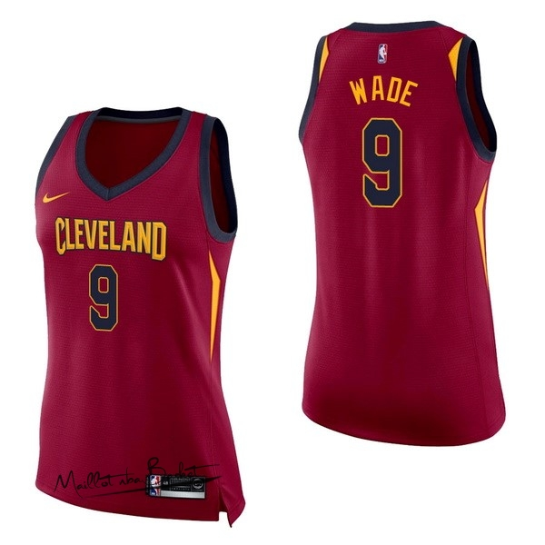 Maillot NBA Femme Cleveland Cavaliers NO.9 Dwyane Wade Rouge Icon