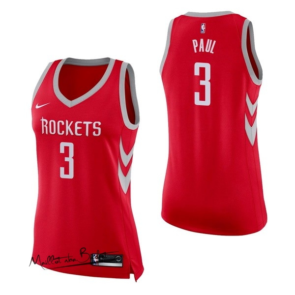 Maillot NBA Femme Houston Rockets NO.3 Chris Paul Rouge Icon