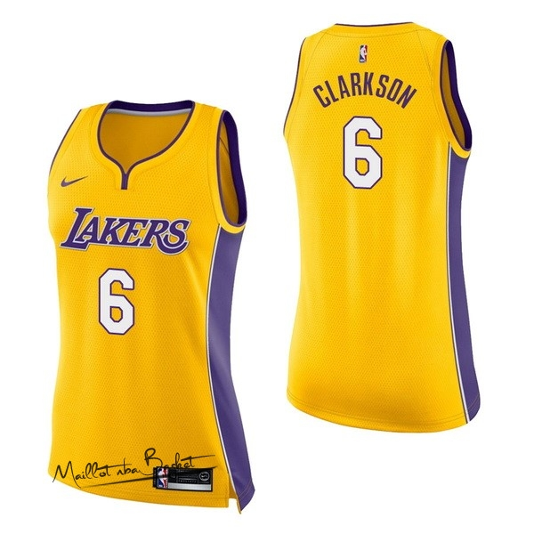 Maillot NBA Femme Los Angeles Lakers NO.6 Jordan Clarkson Jaune Icon