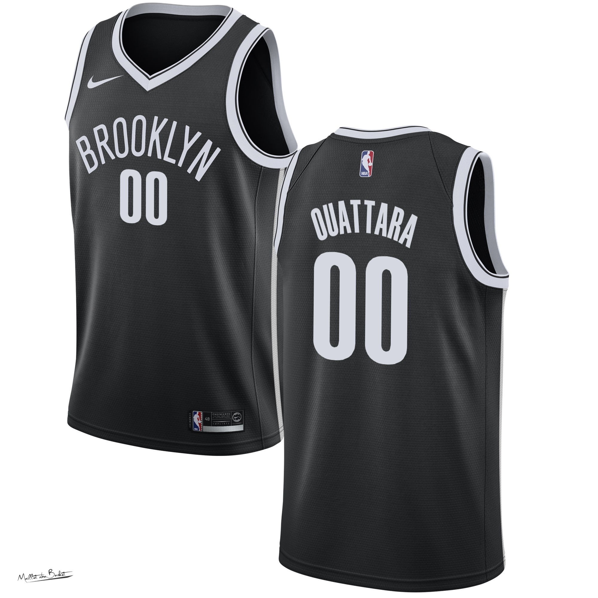 Maillot NBA Nike Brooklyn Nets NO.0 Yakuba Ouattara Noir Icon