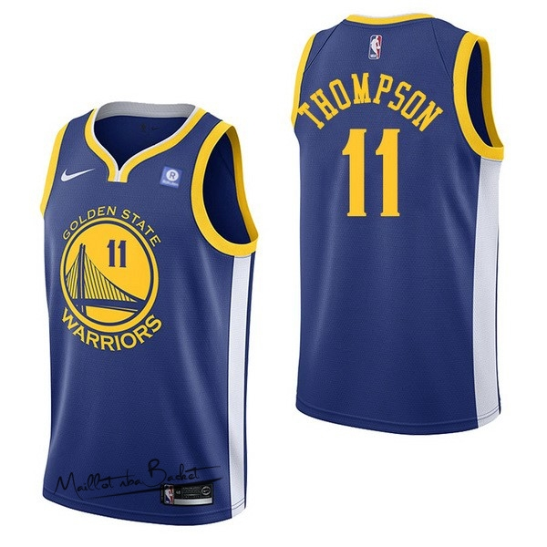 Maillot NBA Nike Golden State Warriors NO.11 Klay Thompson Bleu