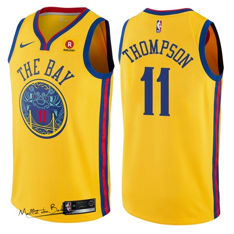 Maillot NBA Nike Golden State Warriors NO.11 Klay Thompson Jaune Ville