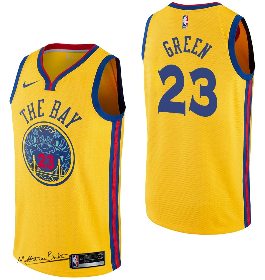 Maillot NBA Nike Golden State Warriors NO.23 Draymond Green Nike Jaune Ville