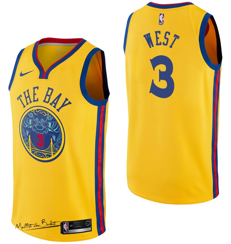 Maillot NBA Nike Golden State Warriors NO.3 David West Nike Jaune Ville