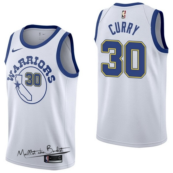 Maillot NBA Nike Golden State Warriors NO.30 Stephen Curry Nike Retro Blanc