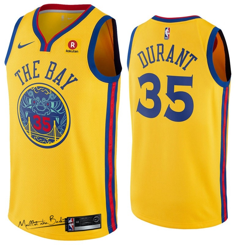 Maillot NBA Nike Golden State Warriors NO.35 Kevin Durant Jaune Ville