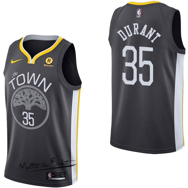 Maillot NBA Nike Golden State Warriors NO.35 Kevin Durant Noir