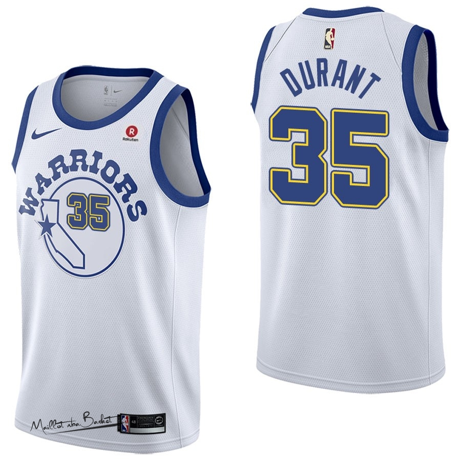 Maillot NBA Nike Golden State Warriors NO.35 Kevin Durant Retro Blanc