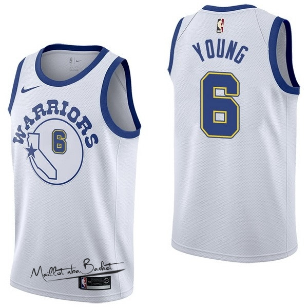 Maillot NBA Nike Golden State Warriors NO.6 Nick Young Nike Retro Blanc