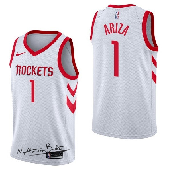 Maillot NBA Nike Houston Rockets NO.1 Trevor Ariza Blanc Association
