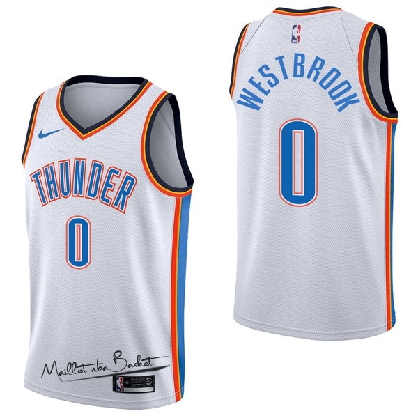 Maillot NBA Nike Oklahoma City Thunder NO.0 Russell Westbrook Blanc Association