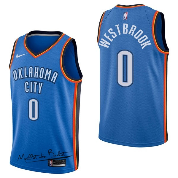 Maillot NBA Nike Oklahoma City Thunder NO.0 Russell Westbrook Bleu Icon