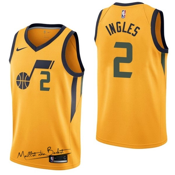 Maillot NBA Nike Utah Jazz NO.2 Joe Ingles Jaune Statement