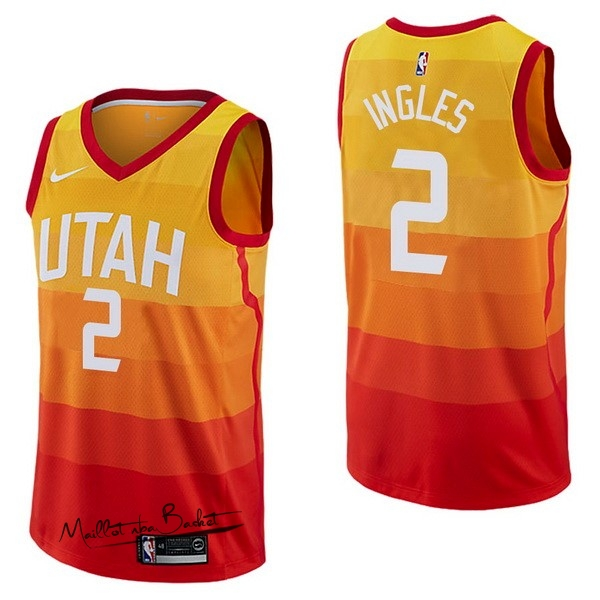Maillot NBA Nike Utah Jazz NO.2 Joe Ingles Nike Jaune Ville