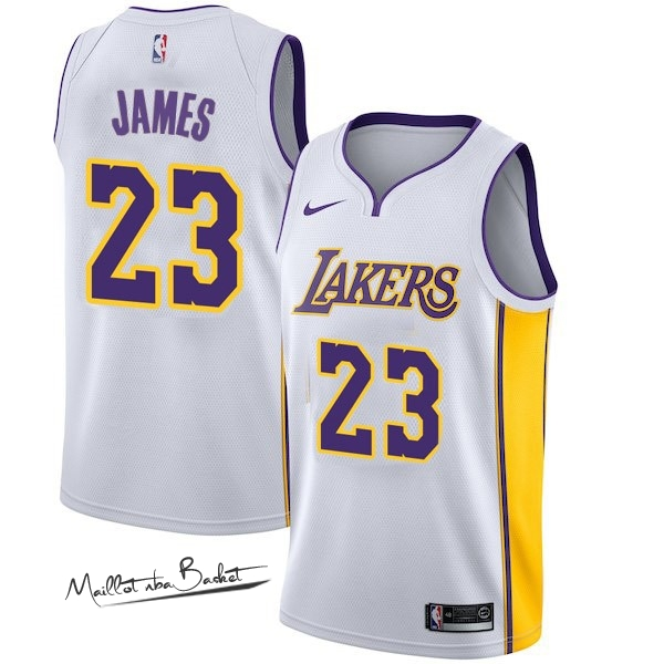 Maillot NBA Enfant Los Angeles Lakers NO.23 LeBron James Blanc Association