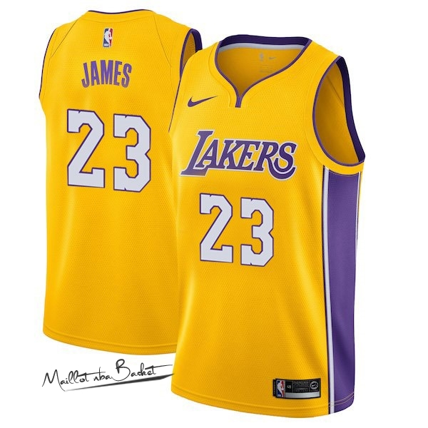 Maillot NBA Enfant Los Angeles Lakers NO.23 LeBron James Jaune Icon