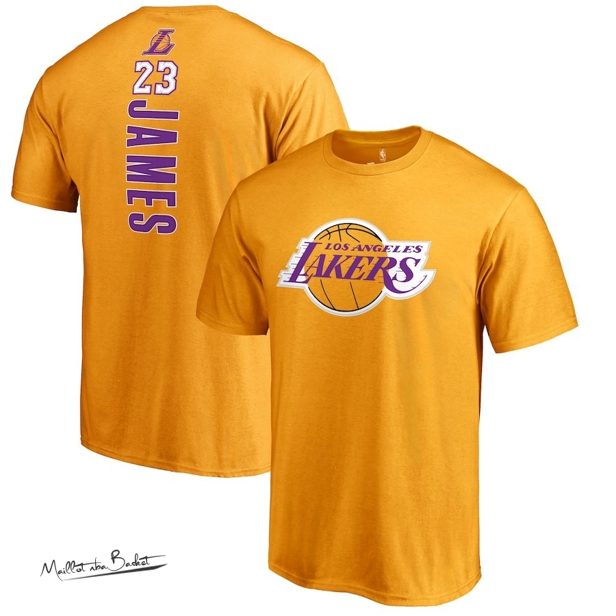Maillot NBA Nike Los Angeles Lakers Manche Courte NO.23 Lebron James Jaune
