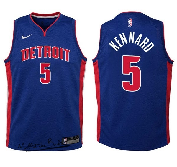 Maillot NBA Enfant Detroit Pistons NO.5 Luke Kennard Bleu Icon