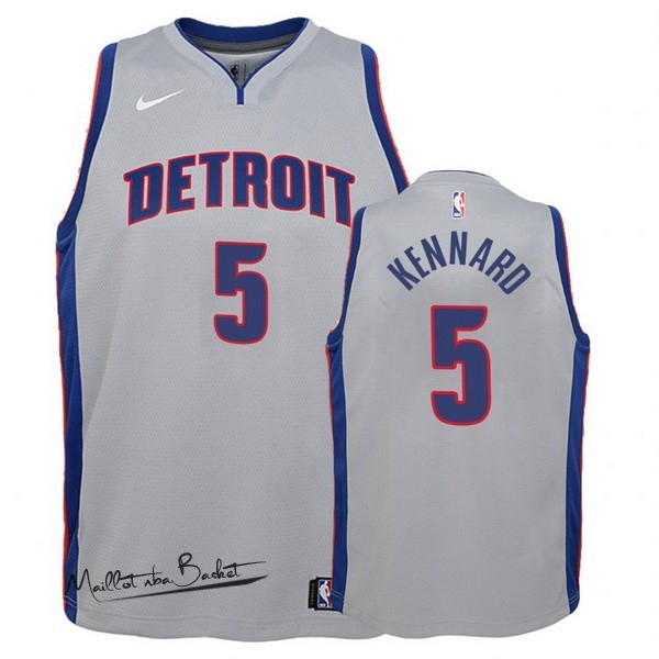 Maillot NBA Enfant Detroit Pistons NO.5 Luke Kennard Gris Statement