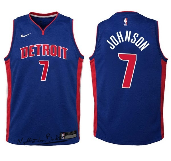 Maillot NBA Enfant Detroit Pistons NO.7 Stanley Johnson Bleu Icon
