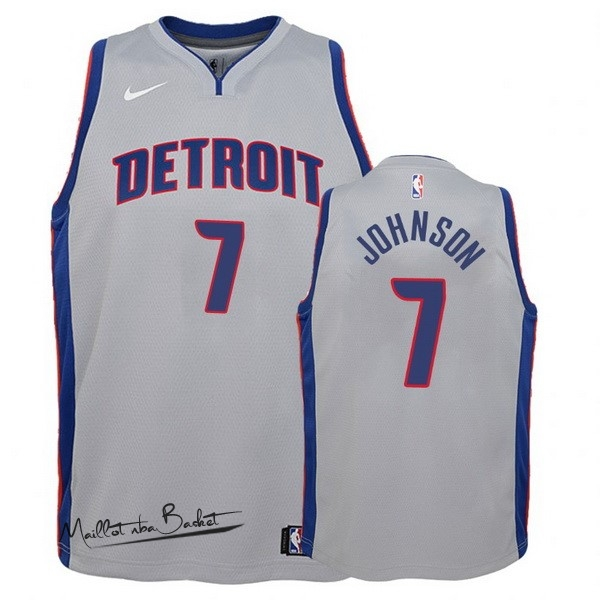 Maillot NBA Enfant Detroit Pistons NO.7 Stanley Johnson Gris Statement