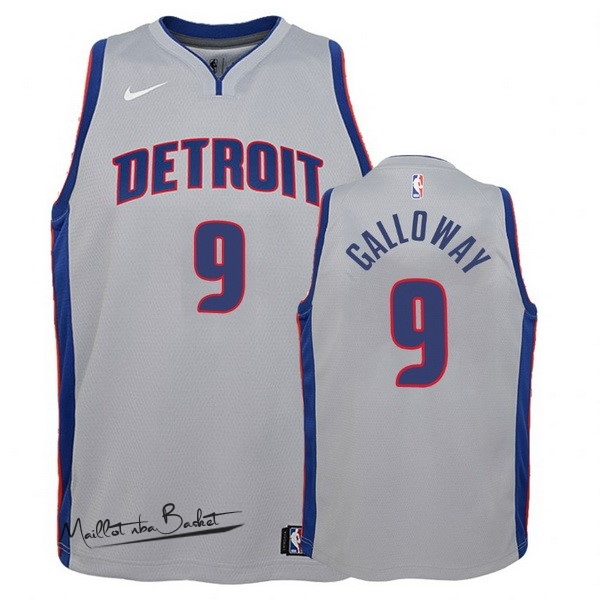 Maillot NBA Enfant Detroit Pistons NO.9 Langston Galloway Gris Statement