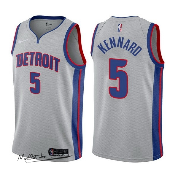 Maillot NBA Nike Detroit Pistons NO.5 Luke Kennard Gris Statement 2017-18