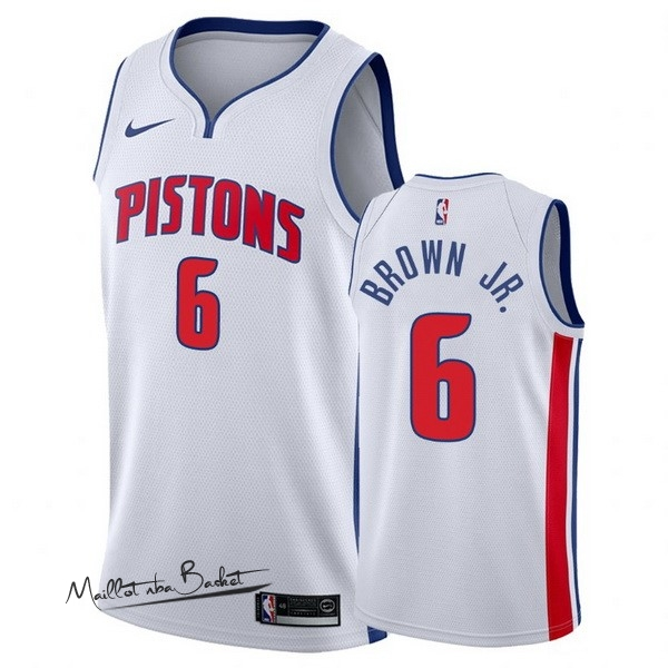 Maillot NBA Nike Detroit Pistons NO.6 Bruce Brown Jr Blanc Association 2017-18