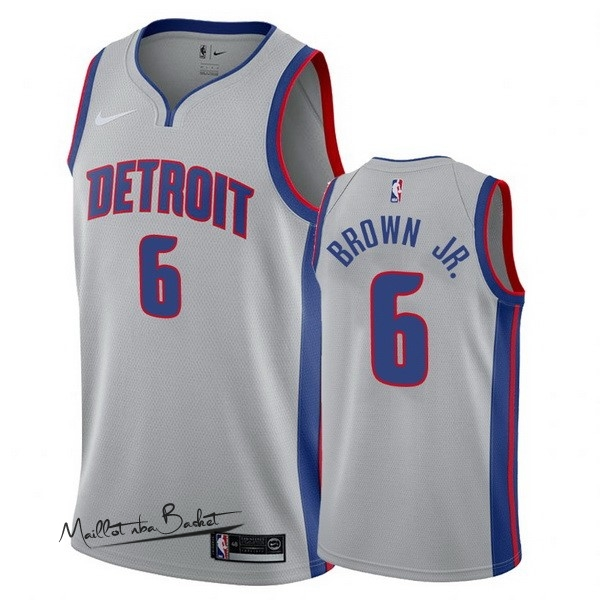 Maillot NBA Nike Detroit Pistons NO.6 Bruce Brown Jr Gris Statement 2017-18