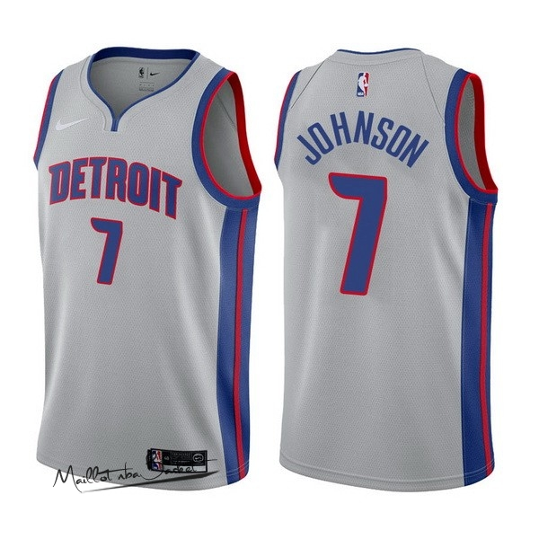 Maillot NBA Nike Detroit Pistons NO.7 Stanley Johnson Gris Statement 2017-18