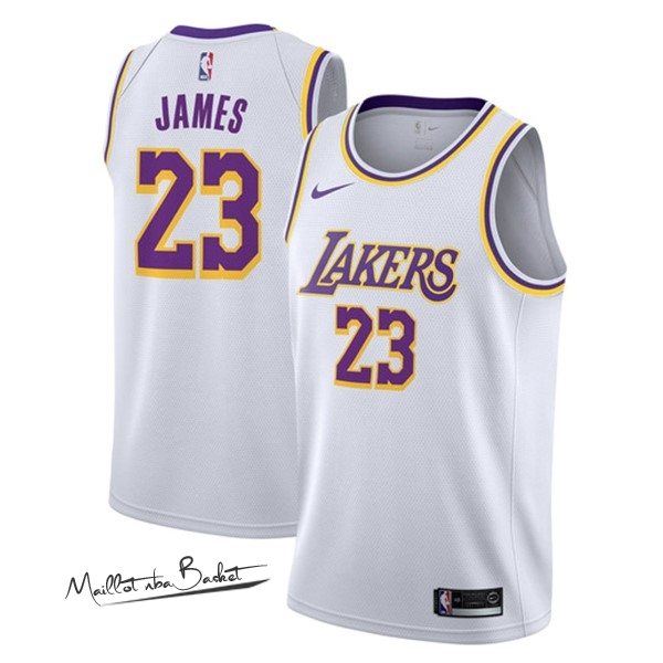 Maillot NBA Nike Los Angeles Lakers NO.23 Lebron James Blanc Association 2018-19