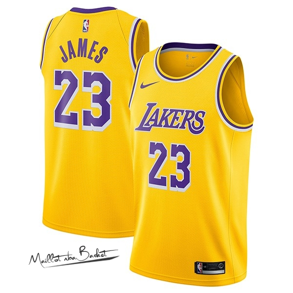 Maillot NBA Nike Los Angeles Lakers NO.23 Lebron James Jaune Icon 2018-19