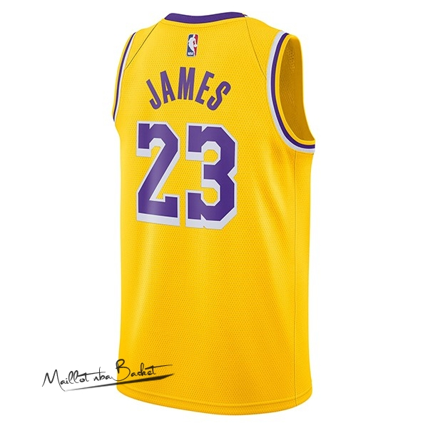 59355ce15c ... Maillot NBA Nike Los Angeles Lakers NO.23 Lebron James Jaune Icon  2018-19 ...