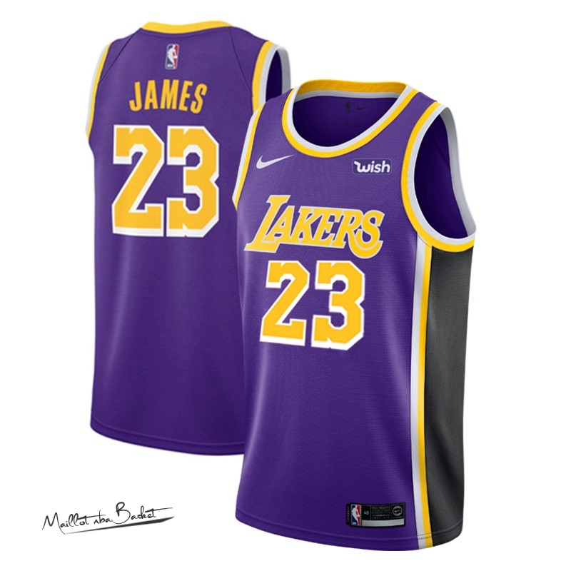 Maillot NBA Nike Los Angeles Lakers NO.23 Lebron James Pourpre 2018-19