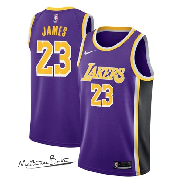 Maillot NBA Nike Los Angeles Lakers NO.23 Lebron James Pourpre Statement 2018-19