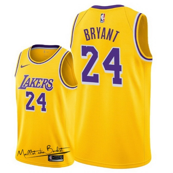 Maillot NBA Nike Los Angeles Lakers NO.24 Kobe Bryant Jaune Icon 2018-19