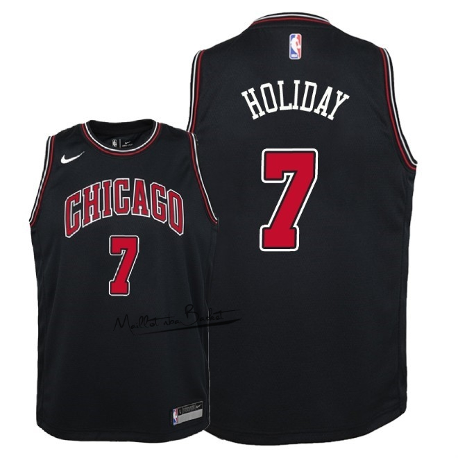 Maillot NBA Enfant Chicago Bulls NO.7 Justin Holiday Noir Statement 2018
