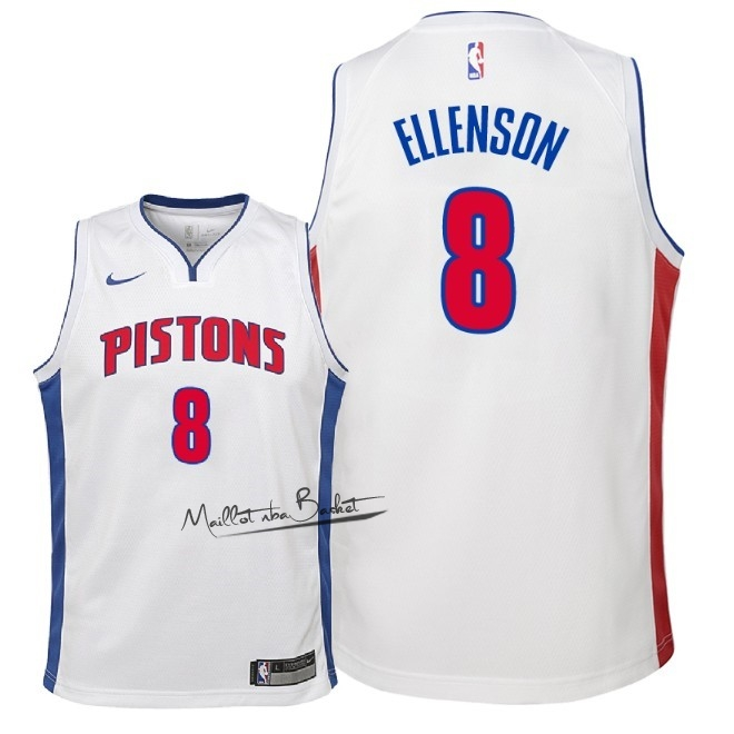 Maillot NBA Enfant Detroit Pistons NO.8 Henry Ellenson Blanc Association 2018