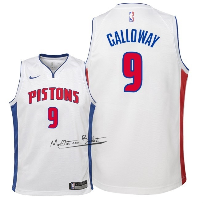 Maillot NBA Enfant Detroit Pistons NO.9 Langston Galloway Blanc Association 2018