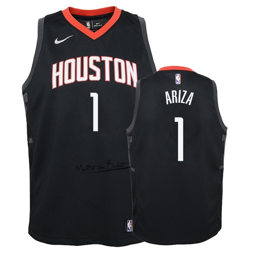 Maillot NBA Enfant Houston Rockets NO.1 Trevor Ariza Noir Statement 2018