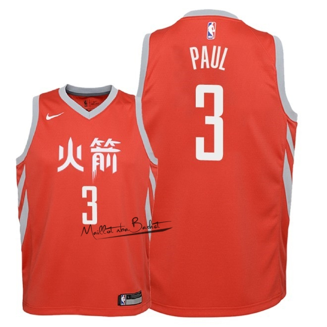 Maillot NBA Enfant Houston Rockets NO.3 Chris Paul Nike Rouge Ville 2018-19