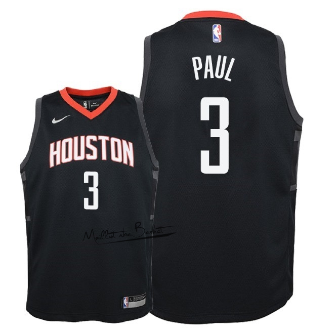 Maillot NBA Enfant Houston Rockets NO.3 Chris Paul Noir Statement 2018-19
