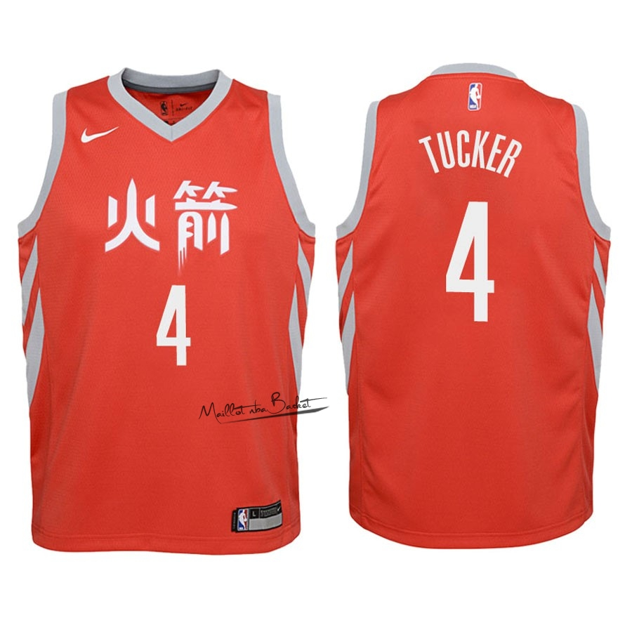 Maillot NBA Enfant Houston Rockets NO.4 P.J. Tucker Nike Rouge Ville 2018